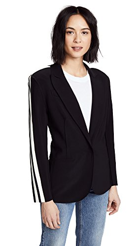 Norma Kamali Women's Side Stripe Single Breasted Jacket, Black/Engineered Stripe, - Tailored Breasted Coat Single