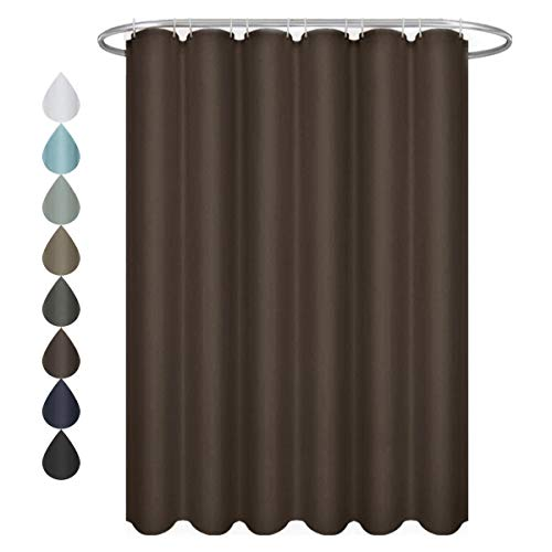 Eforgift Light Brown Shower Curtain Fabric Water Proof Sturdy Metal Grommets, Standard Size Shower Curtain 72 x 72-inch,Home and Hotel Decoration (Liner Shower Light Brown Curtain)