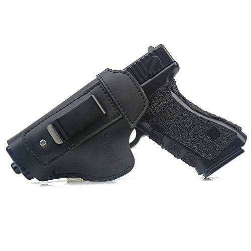 TOFEIC Concealed Carry Leather IWB AIWB Holster Inside The Waistband For Glock 17 19 22 23 26 27 32 33/S&W M&P Shield/Springfield XD XDS XDM/Sig Sauer and Similar Handgun Left handing (Black)