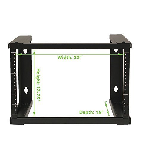 NavePoint 6U Wall Mount Open Frame 19'' Server Equipment Rack Threaded 16 inch depth Black by NavePoint