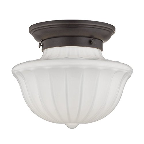 Dutchess 1-Light Small Flush Mount - Old Bronze Finish with White Glass Shade - Hudson Valley Lighting Bronze Ceiling Fan