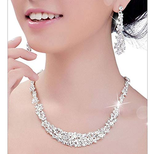 WUAI-Jewelry Set for Women Bridal Crystal Rhinestones Pendant Necklace Earrings Jewelry Sets for Bridal Wedding Party