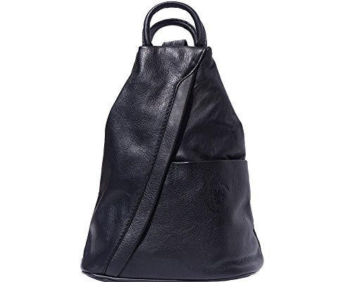 - LaGaksta Submedium Backpack Convertible Teardrop Italian Leather Bag Purse Small Black