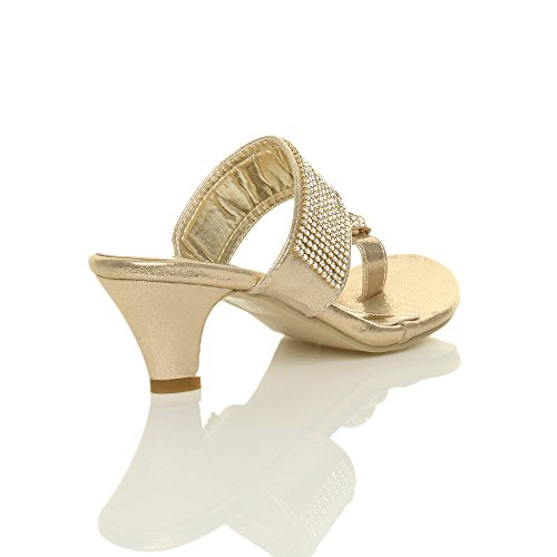 Womens Ladies Platform Low mid Heel Peeptoe Toe Post Party Diamante Sandals Mule Shoes Size Gold zp5PgPD1Kn