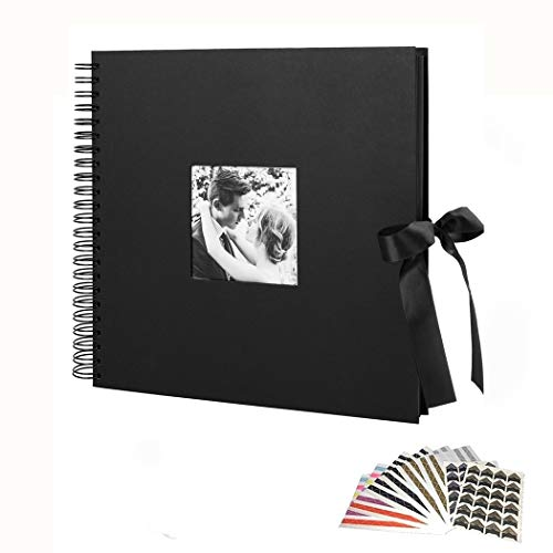 12x12 Inch Scrapbook Photo Album with Photo Opening for Valentines Day Gifts Wedding Guest Book, DIY Anniversary Travel Memory Scrapbooking,80 Black Pages(40 Sheets) Craft Paper, 8 Sheets Photo Corner ()
