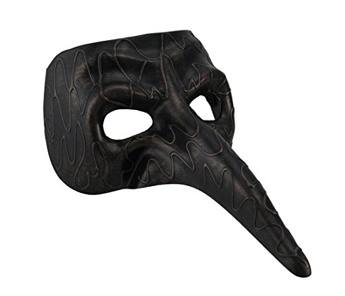 Venetian Bird Mask (Resin Mens Costume Masks Metallic Long Nose Venetian Zanni Style Half Face Mask - 11 X 5 X 7 Inches - Copper - Style # 15778)