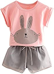Mud Kingdom Girls Outfits Bunny Cute Tops and Shorts