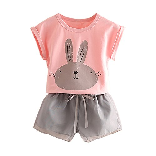 (Mud Kingdom Little Girls Outfits Bunny Cute Tops and Shorts 4T)