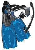 Cressi Pluma Fin 3 Window Mask and Snorkel - Metalic Blue - 35-36