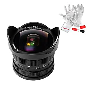 7artisans 7.5mm F2.8 APS-C Fisheye Fixed Lens for Olympus Panasonic Micro Four Thirds MFT M4/3 Cameras - Black with Protective Lens Cap, Removable Lens Hood and Carrying Bag