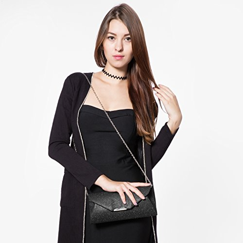 Black for Strap Chain Evening Clutch with Flap Bag Envelope Glitter Purse Women Wedding for Handbags Party wqCZwX