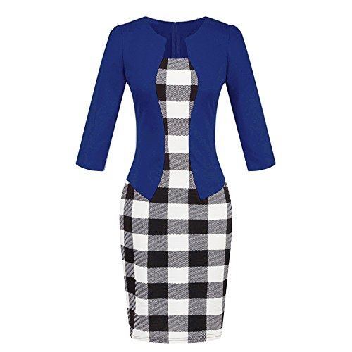 (Chaofanjiancai Women's Colorblock Wear to Work Business Party Bodycon One-Piece Dress Plaid Patchwork Pencil Skirts Dark)