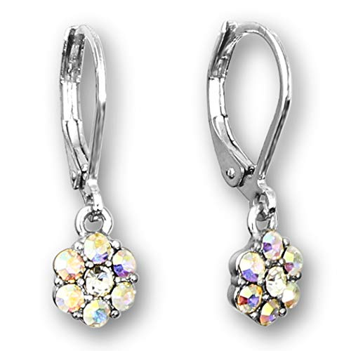 Flower Earrings For Women - Crystal Flowers Comfortable Leverback Earrings For Women | Dangle Earrings For Women Rhodium Silver Plated Glass Earrings For Sensitive Ears | Tiny Earrings for Women ()