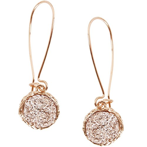 Humble Chic Simulated Druzy Threaders - Upside-Down Long Hoop Dangle Drop Earrings for Women, Gold-Tone, Metallic, Yellow