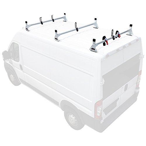 Aluminum H1 3 Bar Van Rack System for RAM ProMaster 2013-On White