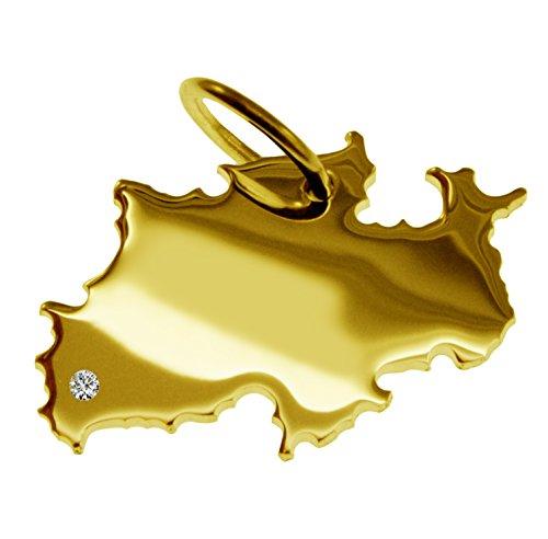 Endroit Exclusif de Rhénanie-Westphalie Carte Pendentif avec brillant à votre Désir (Position au choix.)-massif Or jaune de 585or, artisanat Allemande-585de bijoux