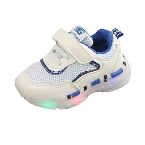 Sapienc Children Fashion Shoes Baby Girls Boys Girls Sneakers Mesh Led Light Luminous Sport Shoes Blue ()