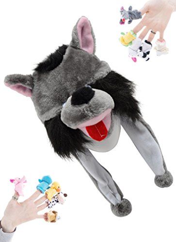Pulama Winter Animal Beanie Hats, Short Cartoon Caps with 10 Cute Finger Puppets Family Toy for Kids (Big Mouth Wolf)