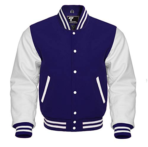 Premium Letterman Baseball School College Bomber Varsity Jacket Wool Blend & Genuine Leather Sleeves (Navy Blue/White, Large)