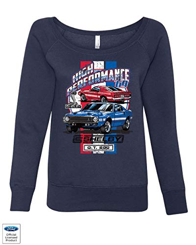 High Performance 1969 Shelby GT500 Women's Sweatshirt Ford Mustang Cobra Navy Blue S (1967 Shelby Gt500 Eleanor Super Snake For Sale)