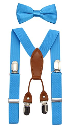 JAIFEI Toddler Kids 4 Clips Adjustable Suspenders and Matching Bow Tie Set (Turquoise) -
