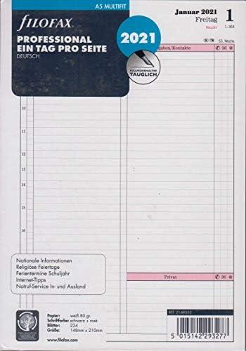 Filofax 2021 A5 Kalender Kalendarium Einlage 1Tag 1Seite Professional Deutsch Tagesblätter 21-68552
