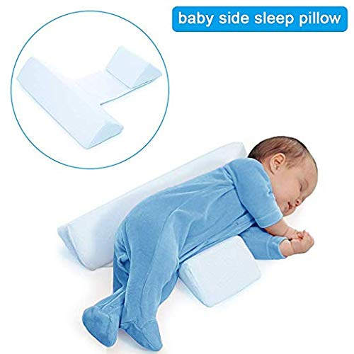 Baby Side Sleep Pillow, Anti-Polarity Head Pillow, Shaped and Washable Nursing Pillow for Toddlers, Anti-Spitting Milk (Blue) by BNY (Image #7)