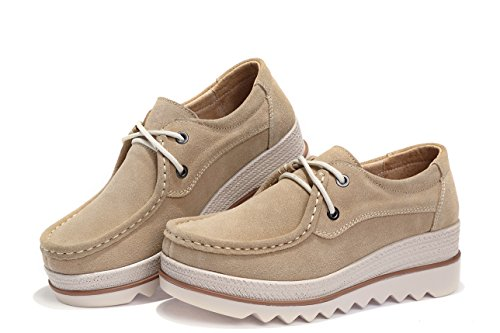 9b2562faa02 Eagsouni Women Platform Slip On Loafers Comfort Suede Casual Moccasins Low  Top Mid Heel Wedge Penny