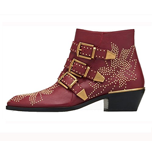 Comfity Women's Rivets Studded Shoes Metal Buckle Low Heels Ankle Boots