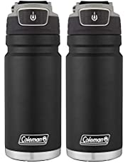 Coleman Recharge Autoseal Water Bottle, 17 Ounce, 2pk – BPA-Free Vacuum Insulated Thermal Mug with Autoseal Button to Prevent Spills - Ideal for Outdoor Lifestyle, Travel, Gym - Black