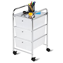 Honey-Can-Do CRT-02215 Rolling Cart with 3 Drawers, Steel/Chrome
