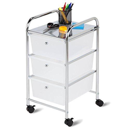 Honey-Can-Do 3-Drawer Plastic Storage Cart on Wheels (Utility 3 Drawer Tower)