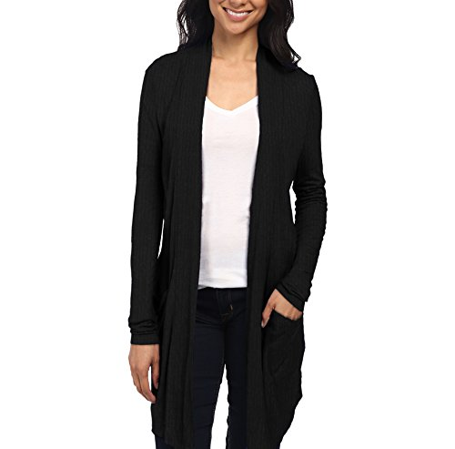 Womens Casual Open Front Drape Cardigan KSKW31127X 52309 Black 1X