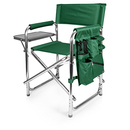 (PERSONALIZED IMPRINTED Sports Director Chair With Side Table and Pocket - Hunter Green)