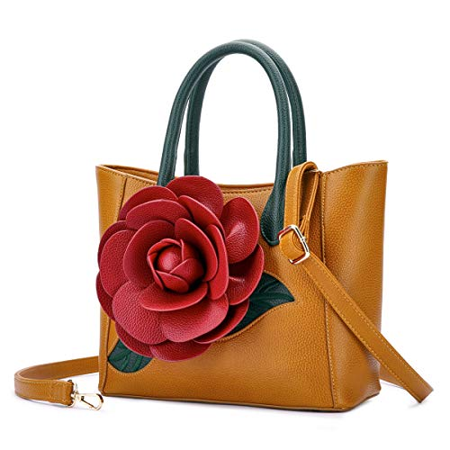 Bag Fancy - Women Handbag 3D Flower Seris PU Leather Purse Tote Medium Bag By Vanillachocolate (Medium, Autumn Yellow)