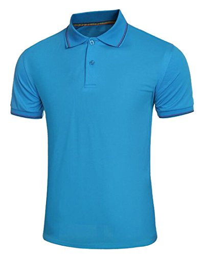 YUNY Men's Short Sleeve Solid Advantage Performance Pique Polo Blue S