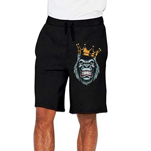 Syins Man Custom Ferocious Gorilla Humor with Pockets Short Running Shorts Pant Black M