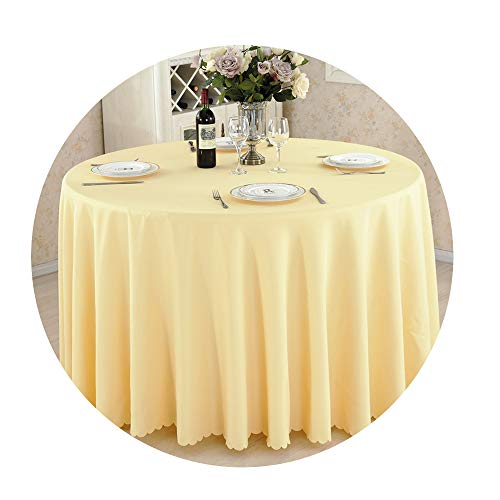COOCOl Round Tablecloth Camping Table Cloth Linen Hotel Party Wedding Tablecloth Dining Coffee Table Cover,Beige,90X90Cm