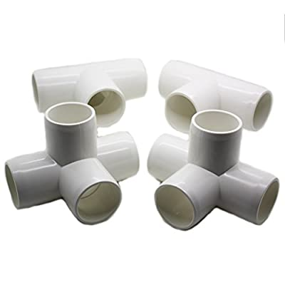 "4 Way Tee PVC Fitting - Build Heavy Duty PVC Furniture - Grade SCH 40 PVC 1"" Elbow Fittings - For One Inch Size Pipe - White [4 Pack]"