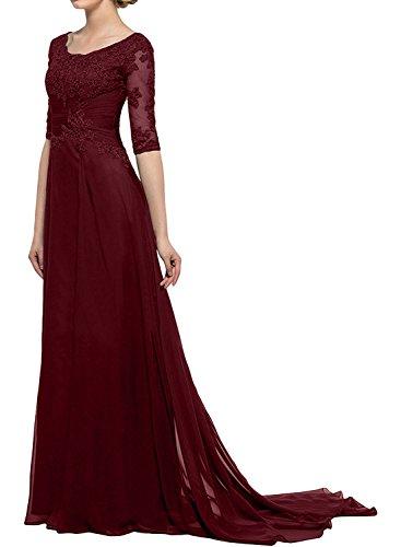 Langarm La Burgundy mit A Abendkleider Spitze Braut Partykleider Brautmutterkleider mia Partykleider Hundkragen Linie Herrlich xrAczqwUOx