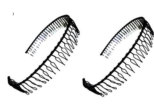 Hairstyle 2 Pcs Metal Black Slim Headband Hair Style Headwear Hoop w Teeth : H21 (2 Black Metal)