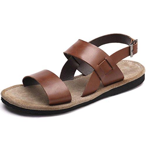 Vogstyle Hombre Verano Sandalias Antideslizante Playa Zapato Zapatillas Casual ZY010 Chocolate