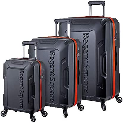 Regent Square Travel – Luggage Sets with Build-In TSA Lock and Spinner Goodyear Wheels RS-CODE, 3 Pieces Hard Case Set Black
