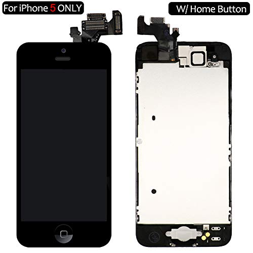 Screen Replacement for i5 Black, Fully Pre-Assembled LCD Display and Touch Screen Digitizer Replacement w/Home Button for A1429, A1428 Including Repair - Replacement Screen Att 4 Iphone