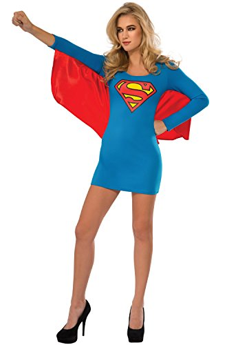 Rubie's Costume Co Women's DC Superheroes Supergirl Cape Dress, Multi, Large (Supergirl Sexy Costume)