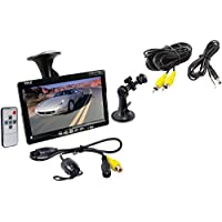 PYLPLCM7700 - PYLE PLCM7700 7 Window Suction Mount TFT LCD Widescreen Monitor Universal Mount Rearview Color Camera with Distance Scale Line