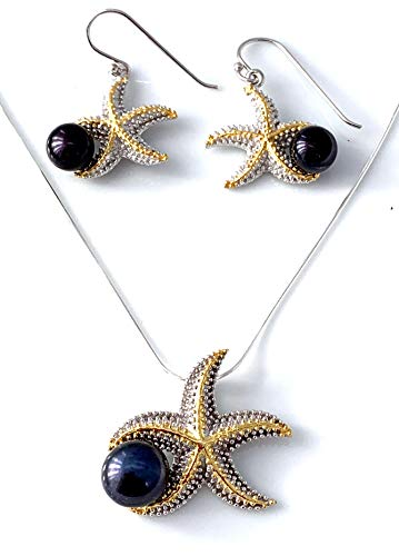 (Set: Natural Black Tahitian Color PEARL, 2- Tone 14K White & Yellow Gold Vermeil 925 Sterling Silver, Handmade Starfish Pendant and Matching Earrings (3.3cm) Fine Jewelry, Gift Idea.)