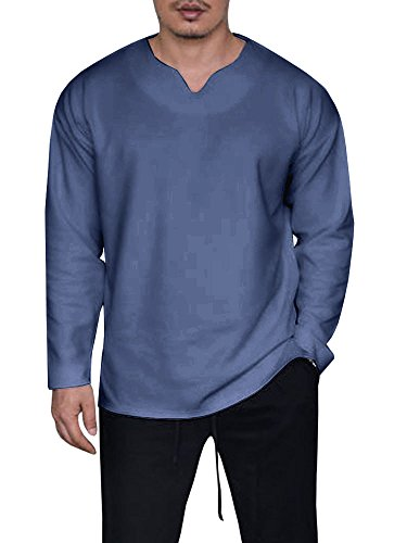 Karlywindow Mens Casual Basic Loose Fit V Neck Long Sleeve Split Side T-Shirt (Pullover Men T Shirt)