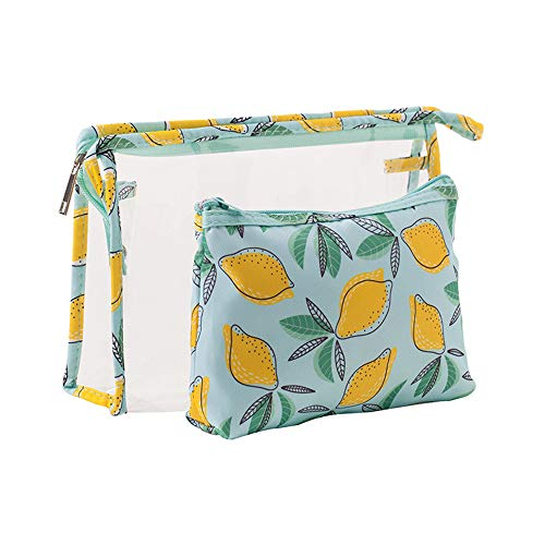 Cosmetic Bag for Women Travel Portable PVC Waterproof Pouch Toiletry Organizer Bags with Zipper for Makeup Business Trip Yellow Lemon by Fiphie ()
