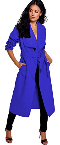 Blue Long Waterfall Ladies Womens Duster Coat Trench Royal ARAMONIAT 48Z6xq6